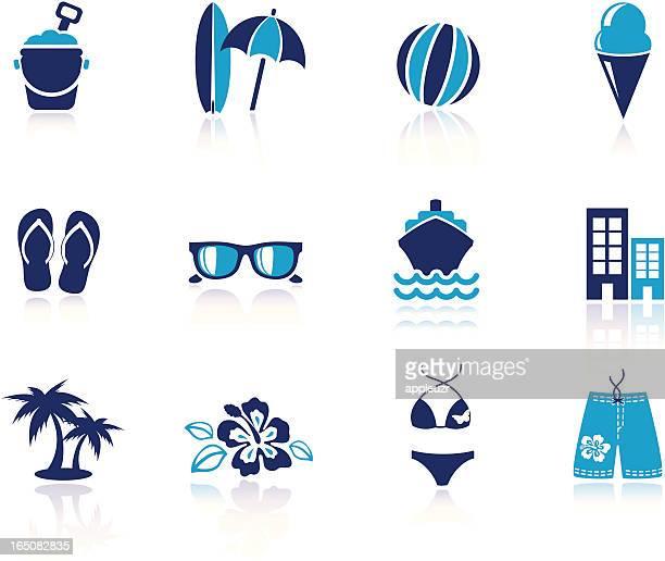 illustrations, cliparts, dessins animés et icônes de icônes de plage - planche de surf