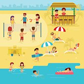 Beach infographic elements