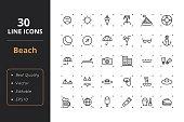 30 Beach Line Icons