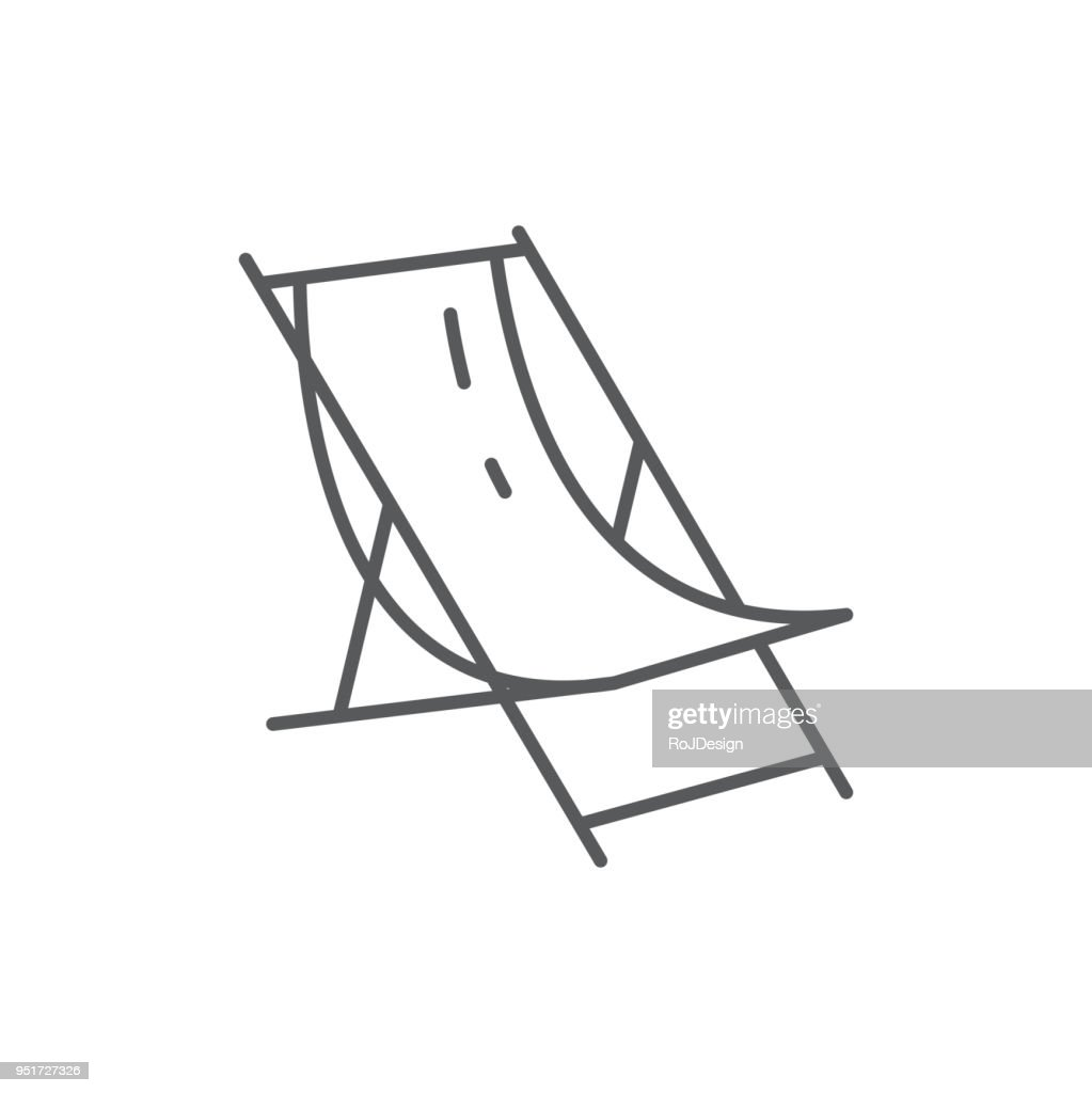 Beach lounge for summertime vacation theme - editable icon isolated on white background.