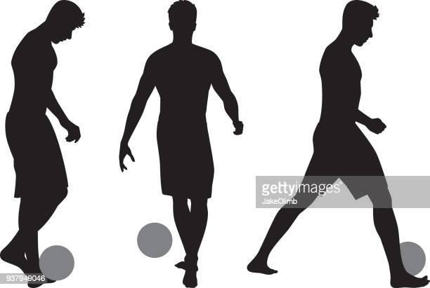 Beach Man with Soccerball Silhouettes