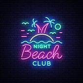 Beach nightclub neon sign. Logo in Neon Style, Symbol, Design Template for Nightclub, Night Party Advertising, Discos, Celebration. Neon banner, postcard, card. Summer. Vector illustration