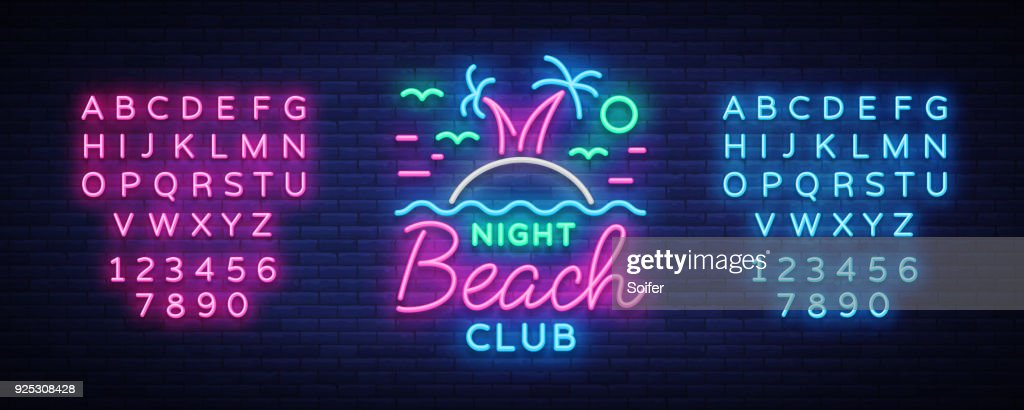 Beach nightclub neon sign. Logo in Neon Style, Symbol, Design Template for Nightclub, Night Party Advertising, Discos, Celebration. Neon banner. Summer. Vector illustration. Editing text neon sign