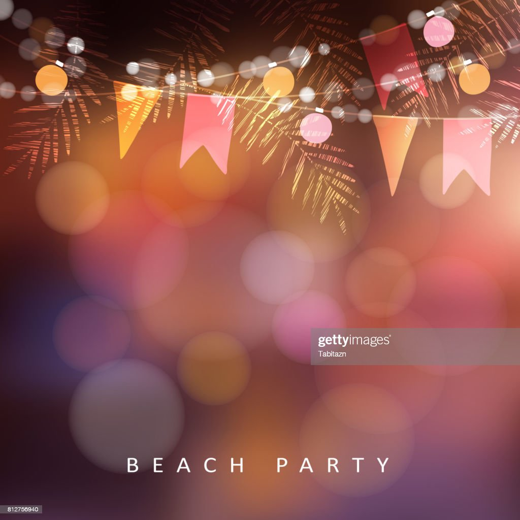 Beach party, Festa Junina or Midsummer greeting card, invitation. Garden party decoration, string of light bulbs, paper flags and palm leaves. Modern blurred background. Vector illustration