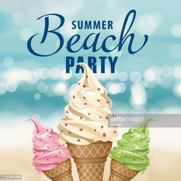 beach party ice-cream - frozen yogurt stock illustrations, clip art, cartoons, & icons