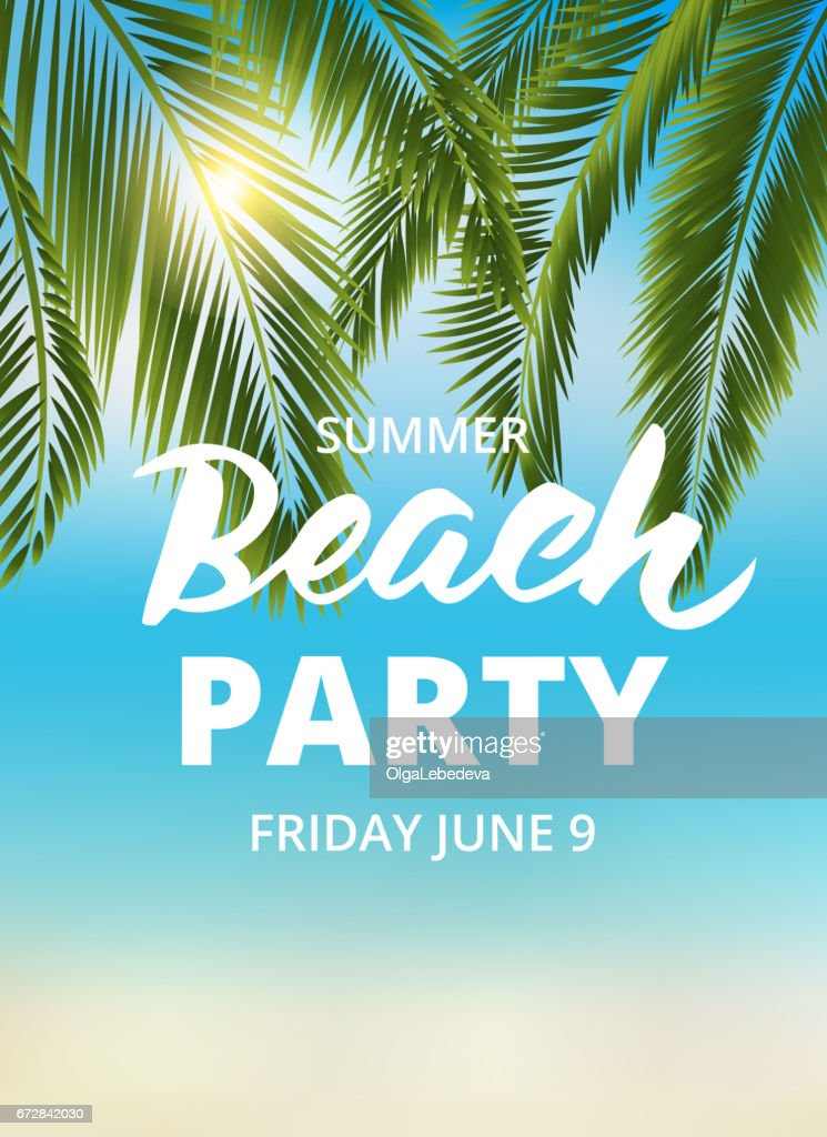 Beach party poster template with typographic elements