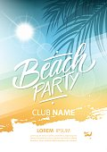 Beach party poster with hand lettering and palm leaves.