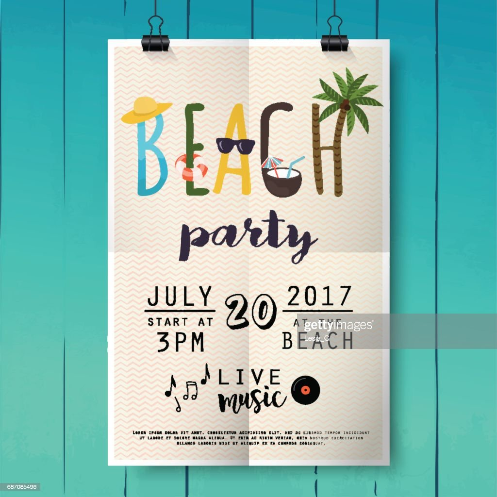 Beach party poster with palm leaf and lettering on wood texture background.