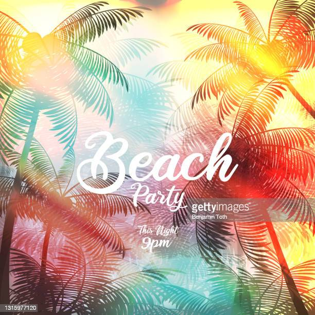beach party poster with palm tree - slogan stock illustrations