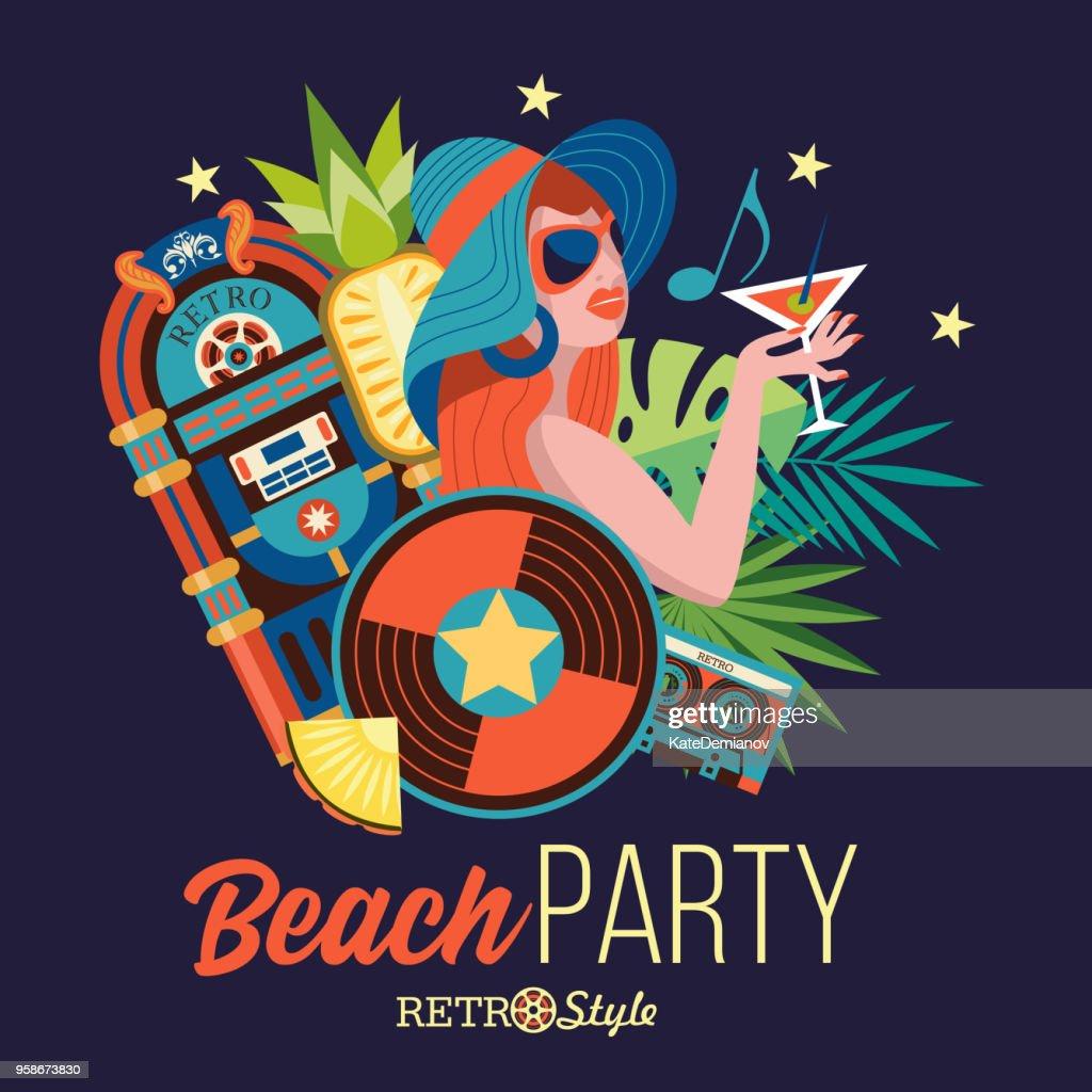 Beach party. Retro music. Vector illustration.