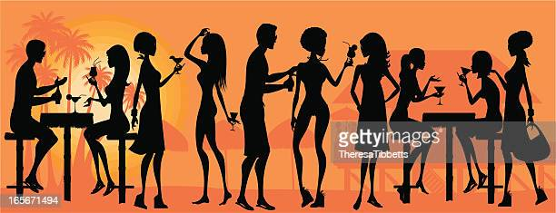 ilustraciones, imágenes clip art, dibujos animados e iconos de stock de fiesta de playa silueta - social grace