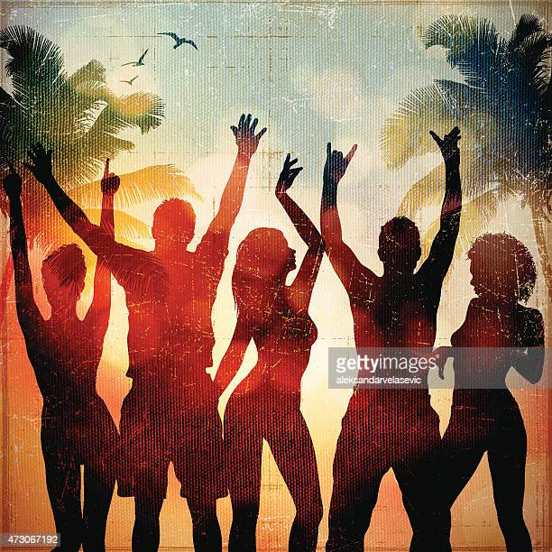 beach party - dancing stock illustrations, clip art, cartoons, & icons