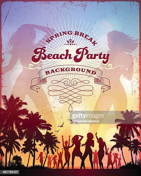 ilustrações, clipart, desenhos animados e ícones de na praia party - funky