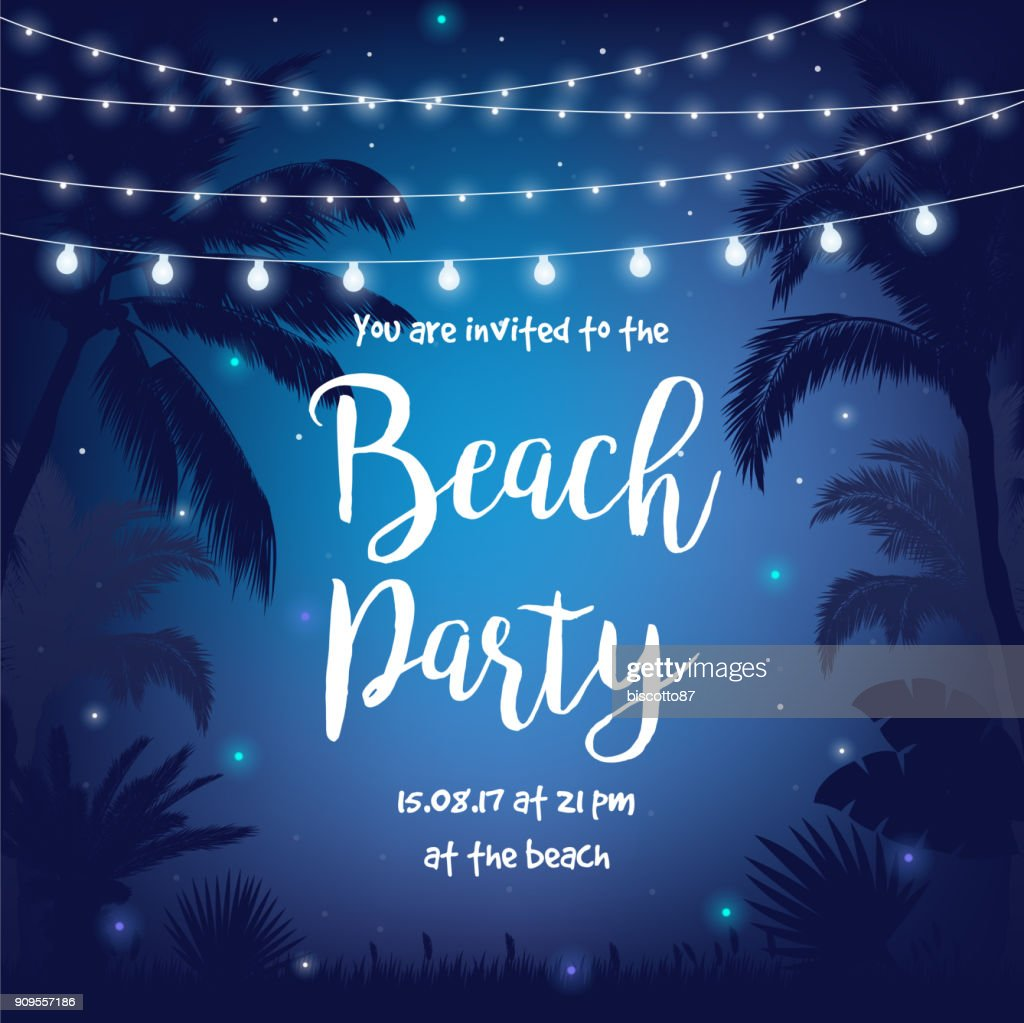 Beach Party vector illustration with beautiful night starry sky, palms, leaves and hanging party lights