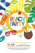 Beach party vector summer poster design template. Sun, palm leaves and cocktails doodle illustration.