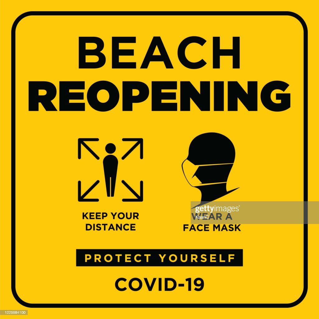 Beach Reopening. Wuhan coronavirus outbreak influenza as dangerous flu strain cases as a pandemic concept banner flat style illustration stock illustration : stock illustration