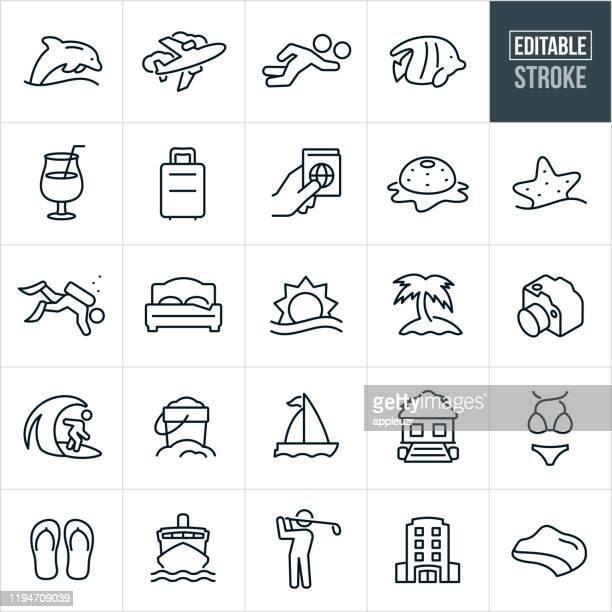 stockillustraties, clipart, cartoons en iconen met beach resort dunne lijn iconen-ediatable beroerte - verblijfsoord