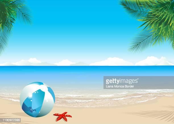 beach scene - coconut palm tree stock illustrations, clip art, cartoons, & icons