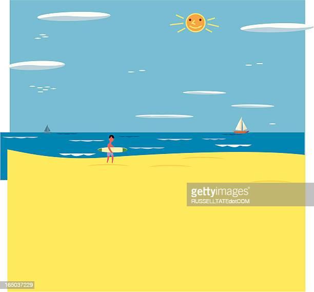 beach scene - australia day stock illustrations