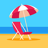 Beach scene with chair and umbrella