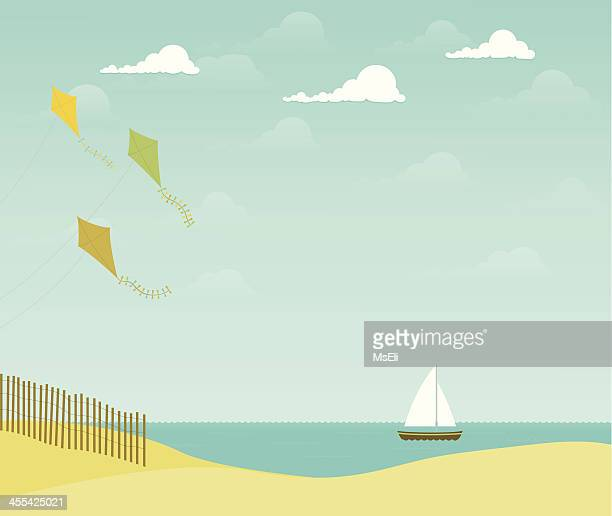 beach scene with kites and sailboat - kite toy stock illustrations, clip art, cartoons, & icons