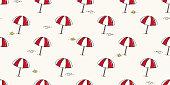 beach seamless pattern umbrella isolated summer sea ocean vector wallpaper background illustration doodle cartoon