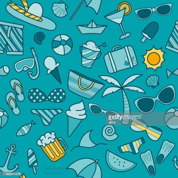 beach seamless pattern - parasol stock illustrations