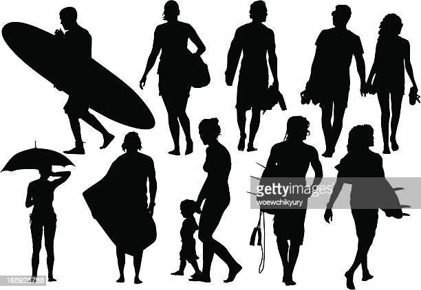 beach silhouettes - aquatic sport stock illustrations