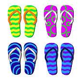 Beach Slippers with pattern isolated for decorating tourist leaflets, banners, posters, booklets, websites