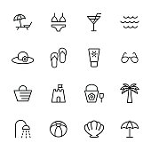 beach summer icons set on white background