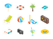 Beach Summer Rest Icon Set Isometric View. Vector