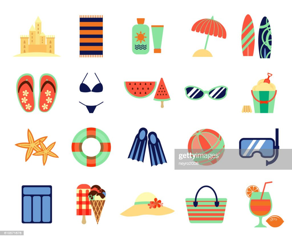 Beach summer vacation flat icons. Vector summertime signs