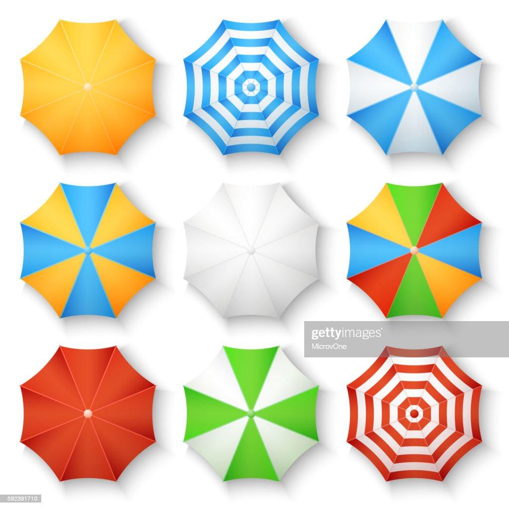 Beach sun umbrellas top view vector icons
