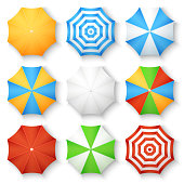 Beach sun umbrellas top view vector icons