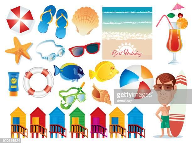 ilustraciones, imágenes clip art, dibujos animados e iconos de stock de símbolos de playa - pelota de playa