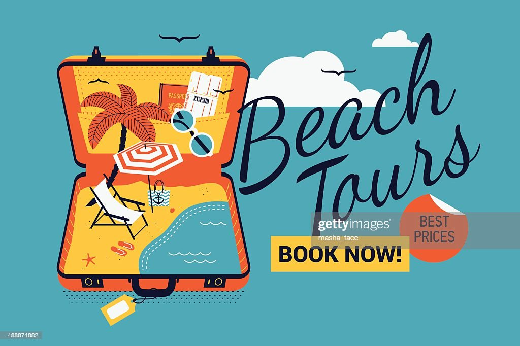 Beach toors booking web banner template