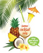 Beach tropical cocktail pina colada with garnish and pineapple c