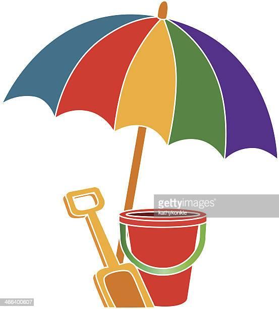 beach umbrella and bucket in color