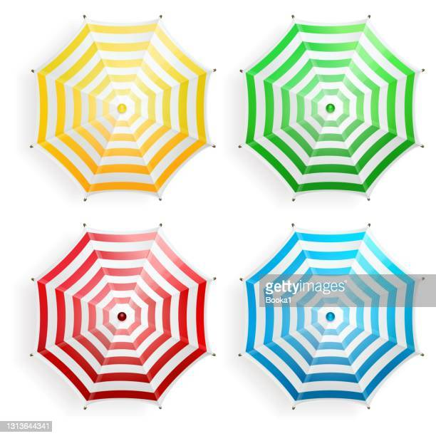 beach umbrella collection . top view - parasol stock illustrations