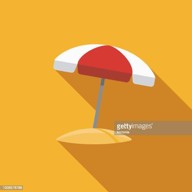 illustrations, cliparts, dessins animés et icônes de parapluie design plat voyage & icône de vacances de plage - parasol