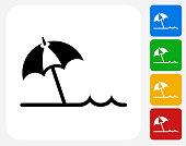 Beach Umbrella Icon Flat Graphic Design