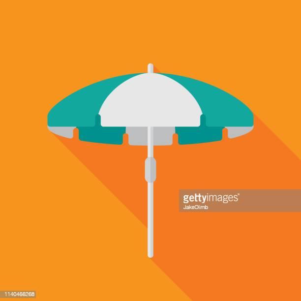 ビーチパラソルアイコンフラット - 日よけ点のイラスト素材/クリップアート素材/マンガ素材/アイコン素材