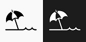 Beach Umbrella Icon on Black and White Vector Backgrounds