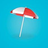 Beach Umbrella Red and White. Vector illustration.