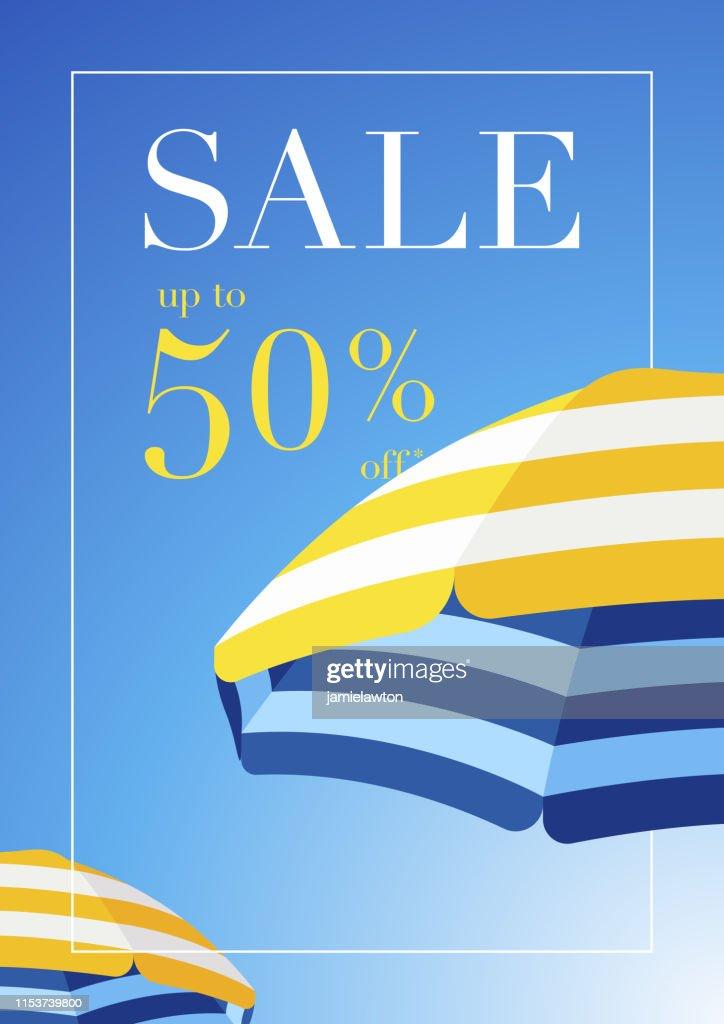 Fond de vente d'été de parapluie de plage : Illustration