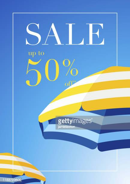 illustrazioni stock, clip art, cartoni animati e icone di tendenza di beach umbrella summer sale background - summer