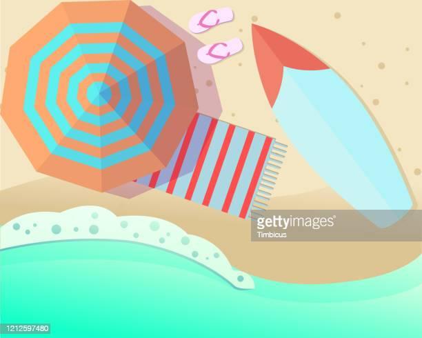 beach umbrella - parasol stock illustrations