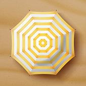 Beach Umbrella Vector. Realistic Parasol Icon. Sand Background. Relax Illustration