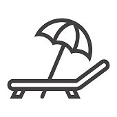 Beach umbrella with deckchair line icon, Travel and tourism, vector graphics, a linear pattern on a white background, eps 10.