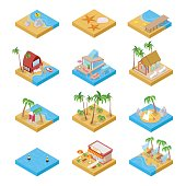 Beach Vacation Collection with Bungalow. Isometric
